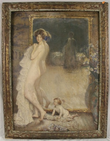 nude mother and child before the mirror by philip leslie hale
