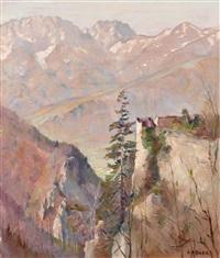 gebirgslandschaft mit ruine by leo adler