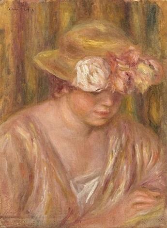 femme en chapeau by pierre auguste renoir