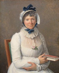 portrait de femme en robe blanche et coiffe bleue à double noeuds, une rose à son corsage, tenant un livre dans sa main gauche by henri françois riesener