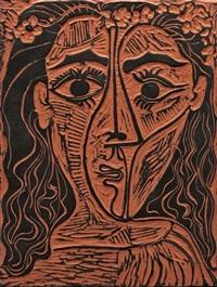 tête de femme à la couronne de fleurs by pablo picasso