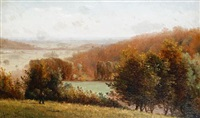 a traveller in an autumnal landscape by james aumonier