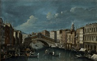 veduta del canal grande presso il ponte di rialto a venezia (view of the grand canal with rialto bridge in venice) by francesco tironi