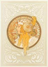 tete byzantine- blonde by alphonse mucha