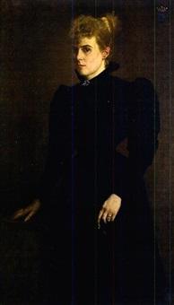 portrait d'une dame en robe noire by simone van dormael