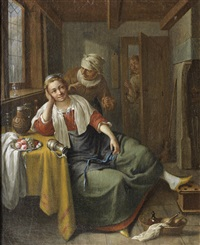 a young woman and her maid in an interior, a man at the door by jacob duck