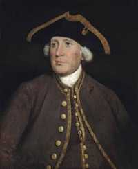portrait of a gentleman, thought to be james lacy (1696-1774), half-length, in a brown coat with gold trim and a tricorn hat by thomas gainsborough