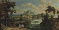 a wooded river landscape with figures on a track, a waterfall, a village and mountains beyond by anglo-flemish school (18)
