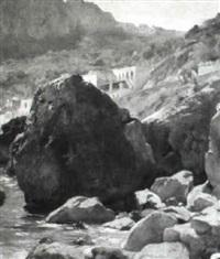 mountain road by the shore by august achtenhagen