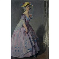 portrait of a lady in mauve by bernhard gutmann