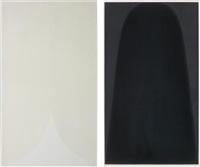 tavola a; and tavola c, from bianchi e neri ii (2 works) by alberto burri
