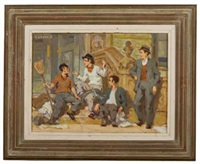 four men on a stoop by charles wheeler locke