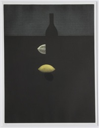 bottle with lemon in the darkness by yozo hamaguchi