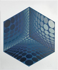 parmenide (blue & white) by victor vasarely