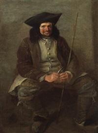 homme assis taillant un bout de bois by leonard de france