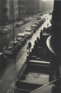 man in rain, west 88th st by ruth orkin