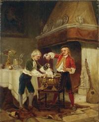 zwei kinder, mit einem hund spielend by karl josef litschauer