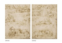 studies of thatched houses and a palace gateway (recto and verso) by flemish school (16)