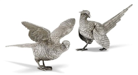 pheasant table ornaments pair by cj vander ltd