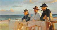 three fishermen on skagen beach in the evening sun by michael peter ancher