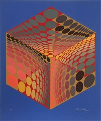 parmenide (orange, red & blue) by victor vasarely
