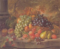 still life with a basket of fruit by charles archer