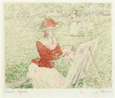 blanche hoschedé painting from 20 lithographies by william thornley by claude monet