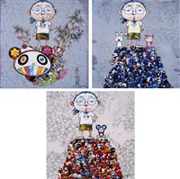 i met a panda family/ kaikai kiki & me: on the blue mound of the dead/ dob & me: on the red mound of the dead (set of 3) by takashi murakami