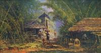 village scene in bali by sudjono abdullah