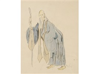 old chinese man - costume study for a turandat by cecil beaton