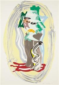 green face, from brushstroke figure series by roy lichtenstein