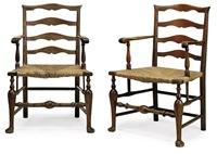 ladderback armchairs (pair) by edwin henry lutyens