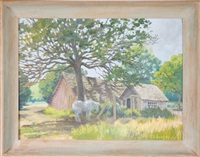 a horse under a tree with a shed in the background by edward burns quigley