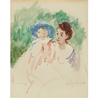 study for mother and child in a boat (femme et enfant; mother and child) by mary cassatt