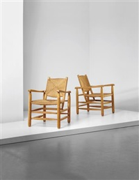 pair of armchairs, model no. 21, from 'l'equipement de la maison' series, grenoble by charlotte perriand