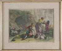 pastorello seduto con armenti e contadina che dà da bere a un bambino by francesco londonio
