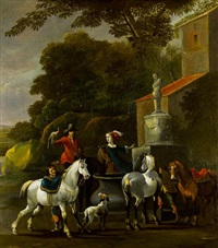 an elegant company departing for the hunt before an open landscape by simon johannes van douw