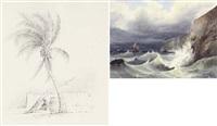 souvenir de l'entrée du port de porto rico, antilles (+ 2 others, smllr; 3 works) by francois mathurin adalbert