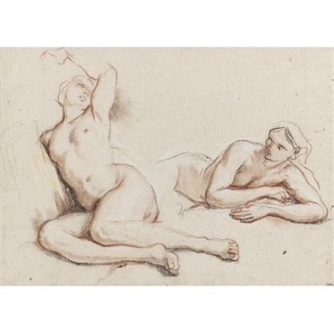 studies of two female nudes by noël nicolas coypel
