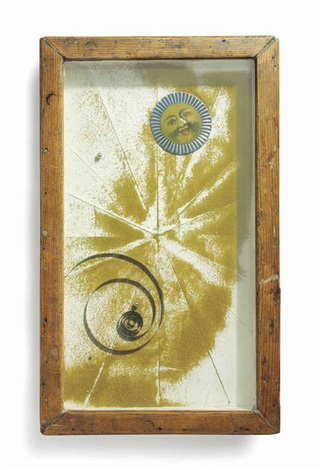 untitled sand tray with sun face by joseph cornell