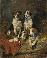 four foxhounds and a terrier by john emms