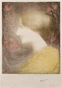 tête de femme, de profil vers la gauche by edmond françois aman-jean