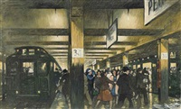 commuters on a platform by thornton oakley