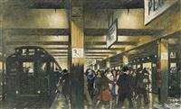 commuters on a platform by thornton oakley