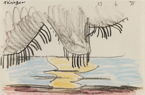 clouds with black rain and golden sunset line on sea by lyonel feininger