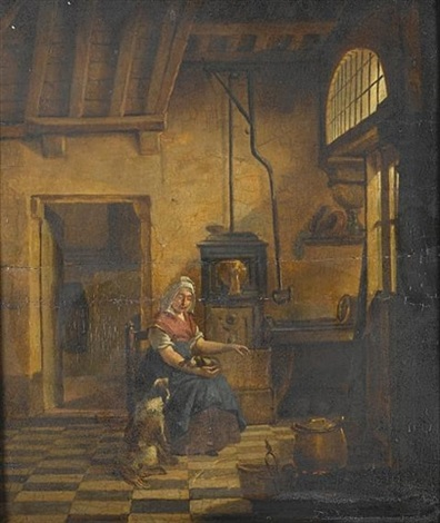 an interior with a young woman warming herself beside a stove with a dog on her lap and another at her feet by johannes van delft vermeer