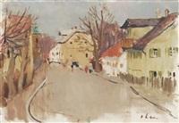 herbstliche dorfstraße by hans olde