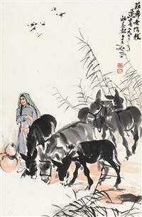 黄 胄(1925-1997) 苇塘饮驴 by huang zhou