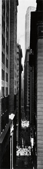 view of exchange place from broadway, new york by berenice abbott