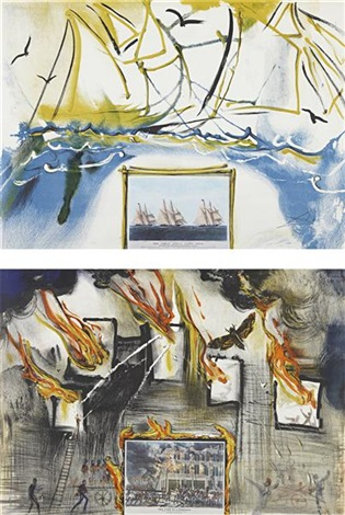fire fire fire american yachting scene from currier ives series 2 works by salvador dalí